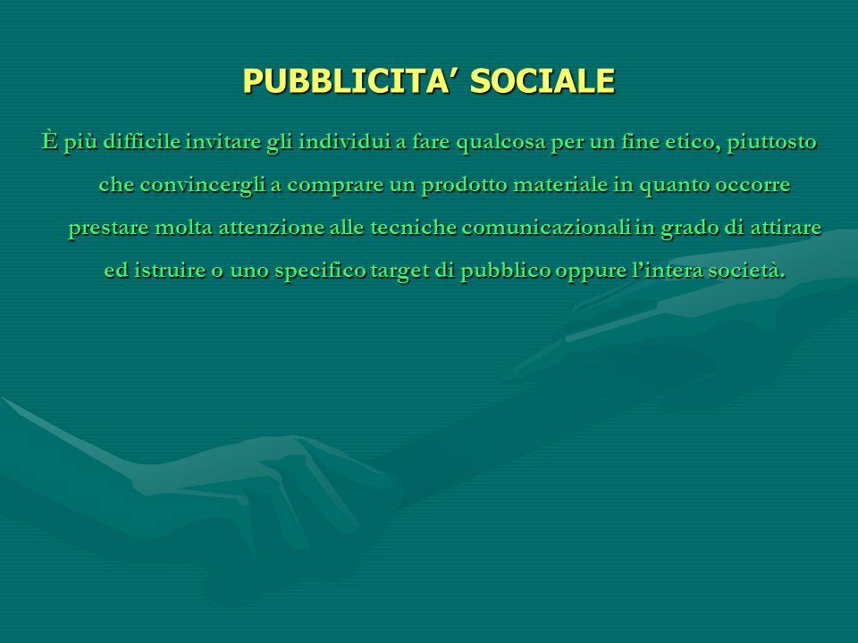 PUBBLICITA' SOCIALE È più difficile invitare gli individui a fare qualcosa per un fine etico, piuttosto che convincergli a comprare un prodotto materi