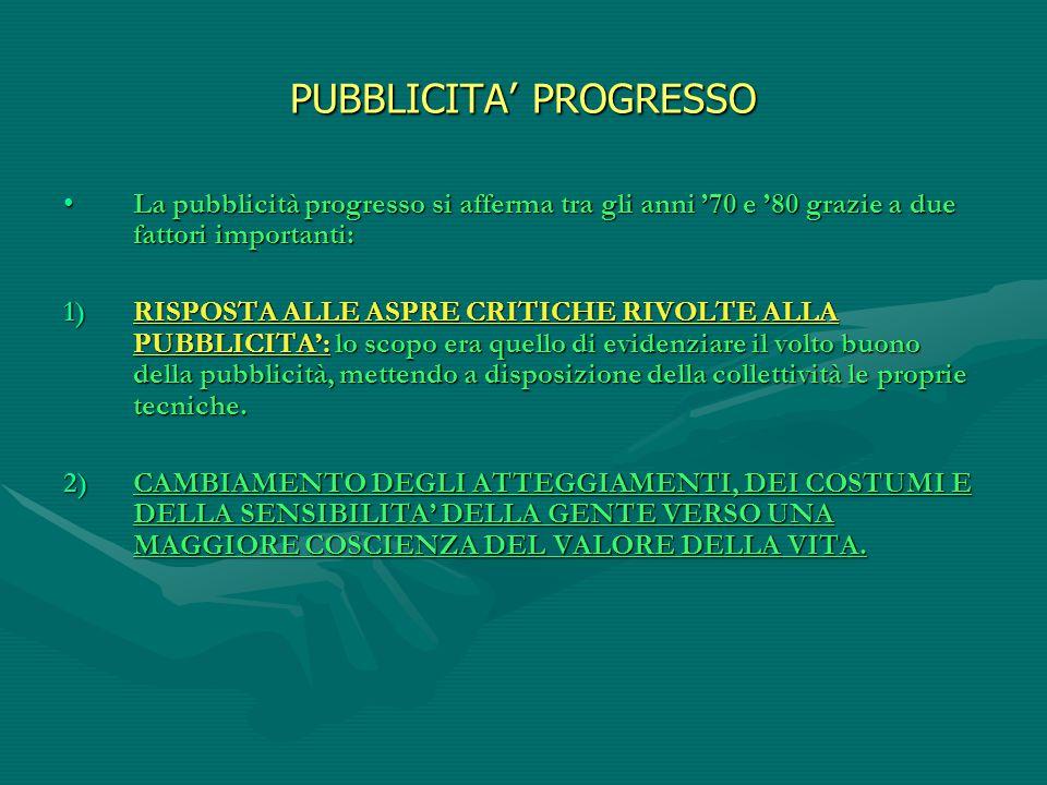 PUBBLICITA' PROGRESSO La pubblicità progresso si afferma tra gli anni '70 e '80 grazie a due fattori importanti:La pubblicità progresso si afferma tra