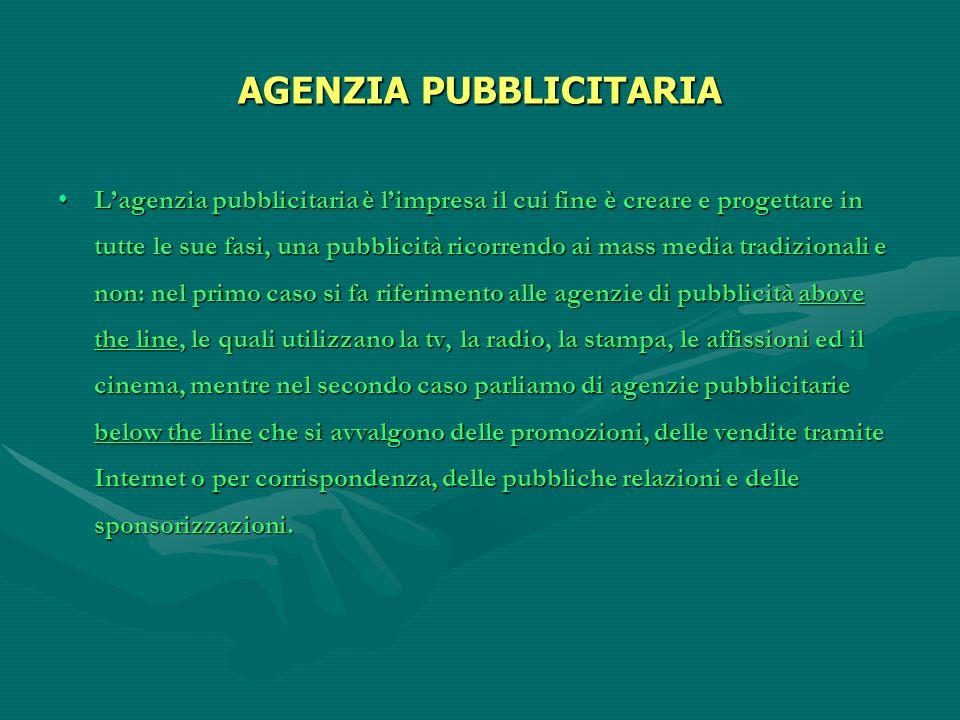 AGENZIA PUBBLICITARIA L'agenzia pubblicitaria è l'impresa il cui fine è creare e progettare in tutte le sue fasi, una pubblicità ricorrendo ai mass me