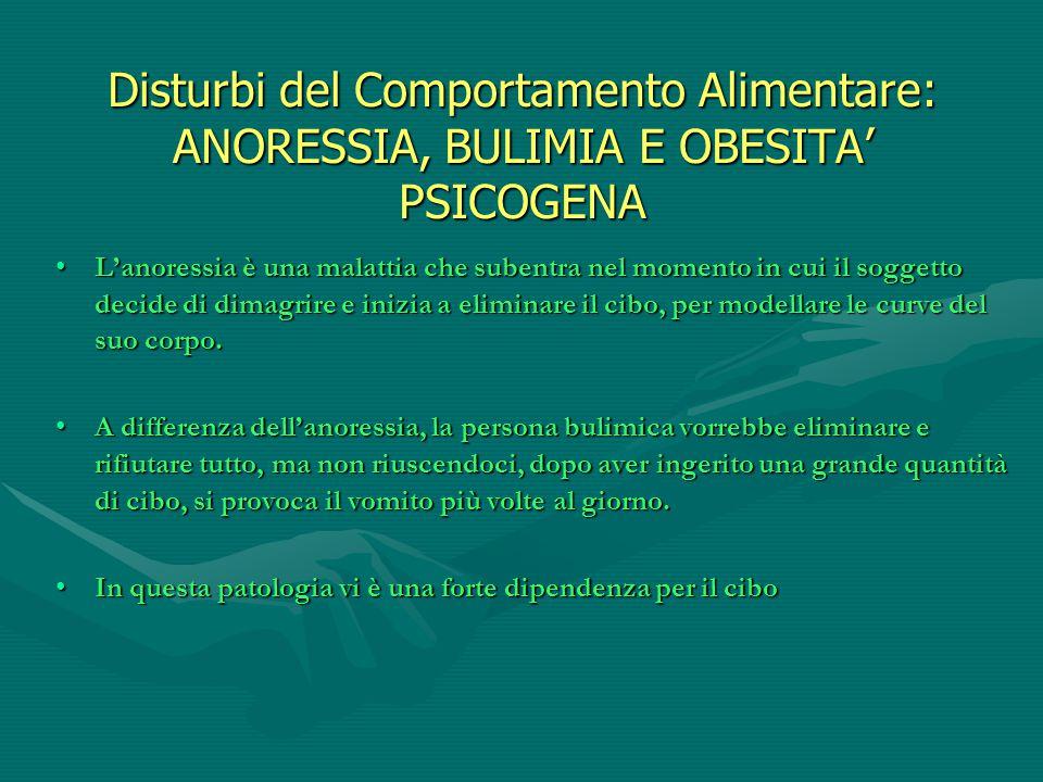 Disturbi del Comportamento Alimentare: ANORESSIA, BULIMIA E OBESITA' PSICOGENA L'anoressia è una malattia che subentra nel momento in cui il soggetto