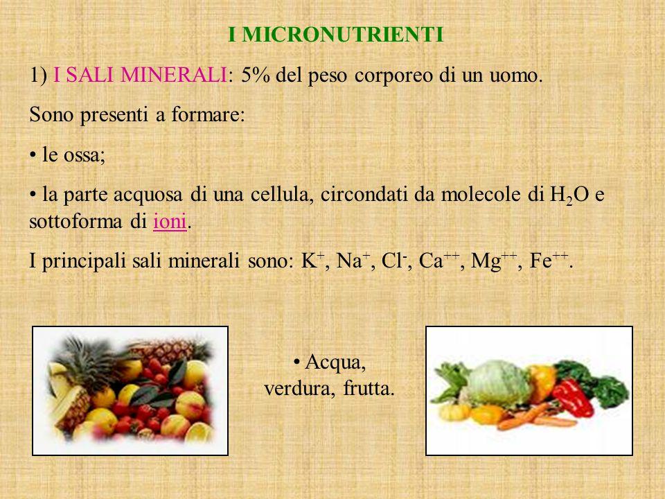 I MICRONUTRIENTI 1) I SALI MINERALI: 5% del peso corporeo di un uomo.