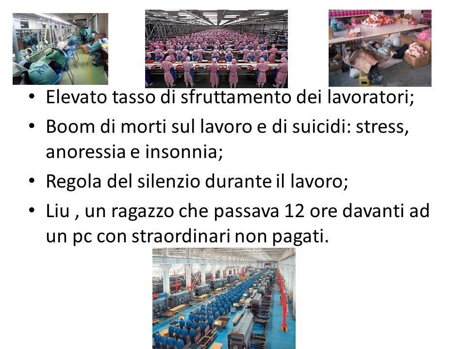 Elevato tasso di sfruttamento dei lavoratori; Boom di morti sul lavoro e di suicidi: stress, anoressia e insonnia; Regola del silenzio durante il lavo