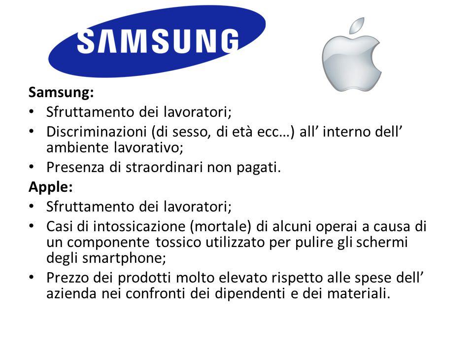 Samsung: Sfruttamento dei lavoratori; Discriminazioni (di sesso, di età ecc…) all' interno dell' ambiente lavorativo; Presenza di straordinari non pag