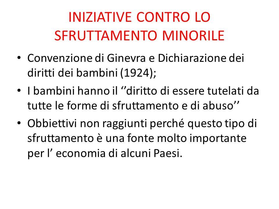 INIZIATIVE CONTRO LO SFRUTTAMENTO MINORILE Convenzione di Ginevra e Dichiarazione dei diritti dei bambini (1924); I bambini hanno il ''diritto di esse