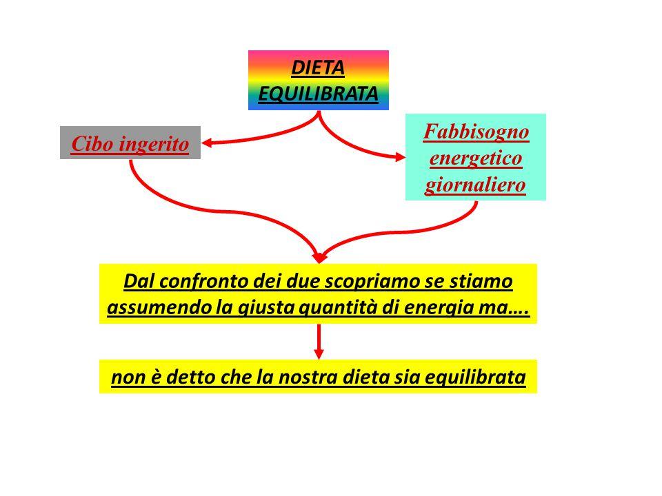 DIETA eQUILIBRATA È utile calcolare quanta energia forniscono i cibi per confrontarlo con il fabbisogno energetico giornaliero (i due valori dovrebber