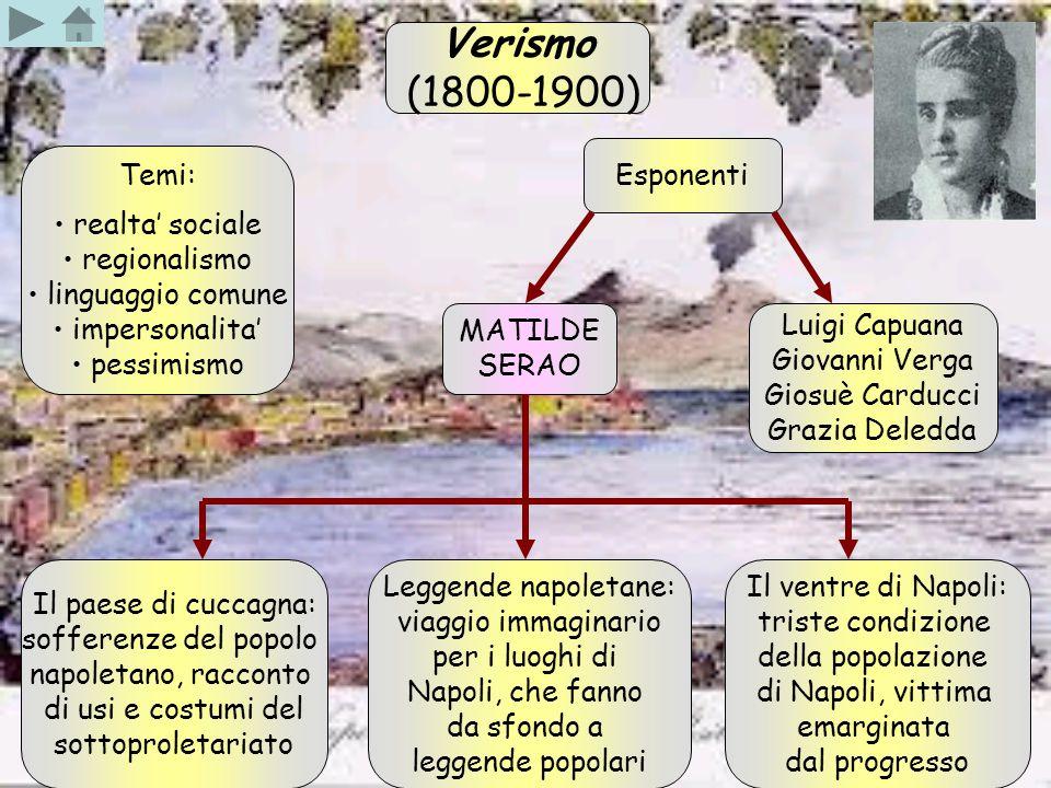 Verismo (1800-1900) Temi: realta' sociale regionalismo linguaggio comune impersonalita' pessimismo Esponenti Luigi Capuana Giovanni Verga Giosuè Cardu
