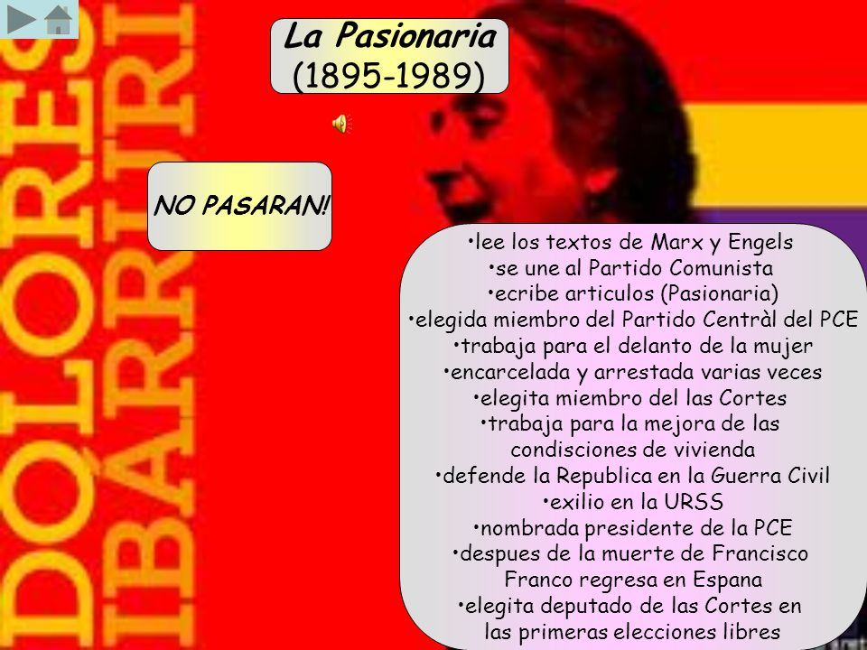 La Pasionaria (1895-1989) lee los textos de Marx y Engels se une al Partido Comunista ecribe articulos (Pasionaria) elegida miembro del Partido Centrà