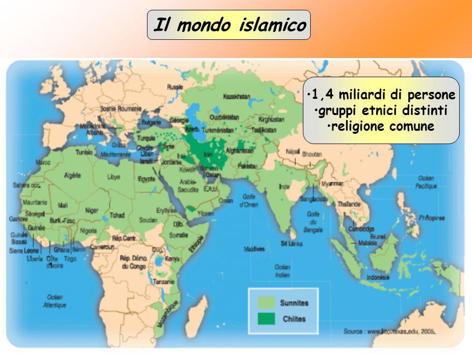 Il mondo islamico 1,4 miliardi di persone gruppi etnici distinti religione comune