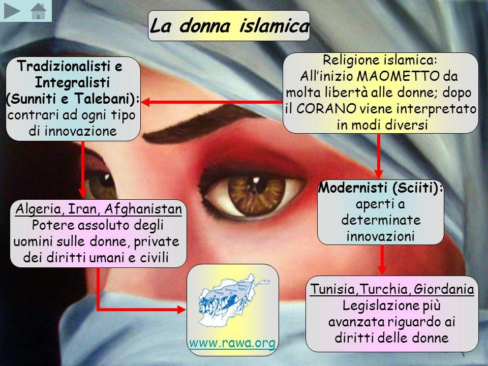 La donna islamica Religione islamica: All'inizio MAOMETTO da molta libertà alle donne; dopo il CORANO viene interpretato in modi diversi Modernisti (S