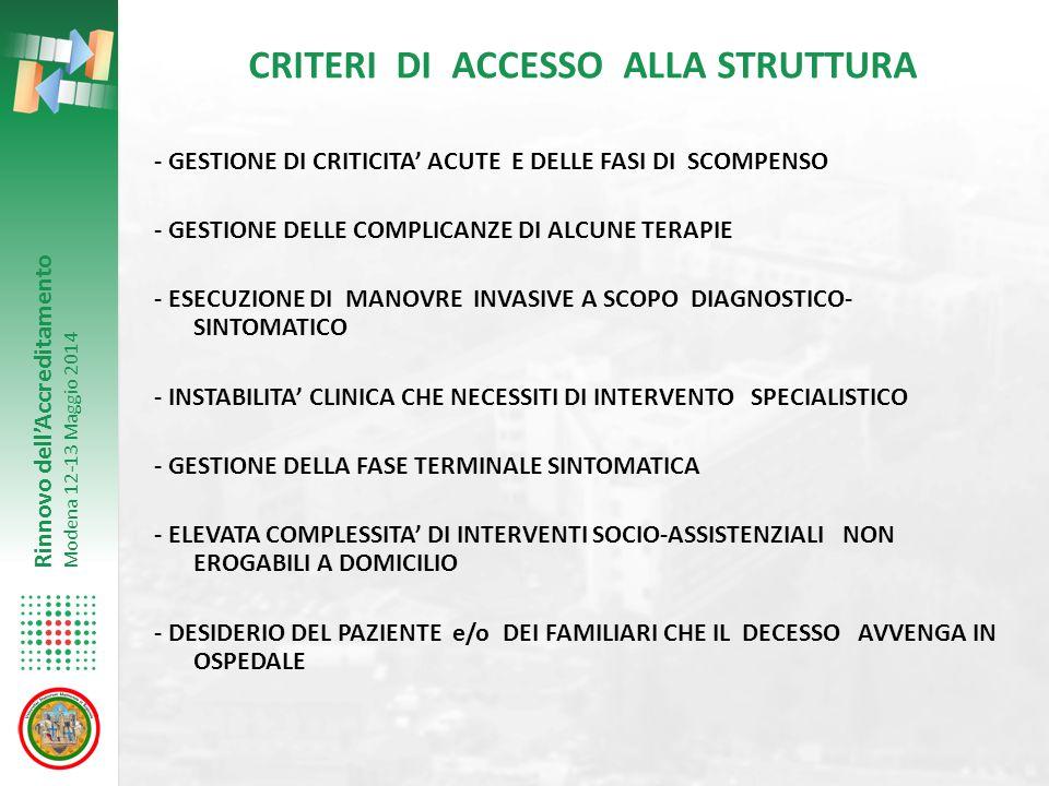 Rinnovo dell'Accreditamento Modena 12-13 Maggio 2014 CRITERI DI ACCESSO ALLA STRUTTURA - GESTIONE DI CRITICITA' ACUTE E DELLE FASI DI SCOMPENSO - GEST