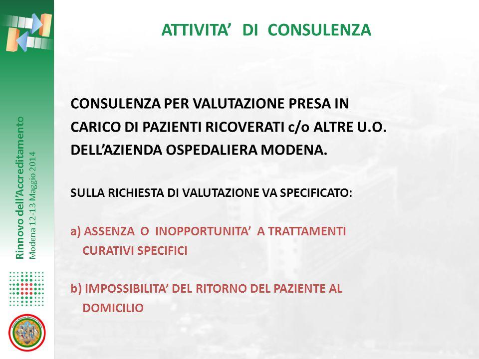 Rinnovo dell'Accreditamento Modena 12-13 Maggio 2014 ATTIVITA' DI CONSULENZA CONSULENZA PER VALUTAZIONE PRESA IN CARICO DI PAZIENTI RICOVERATI c/o ALT