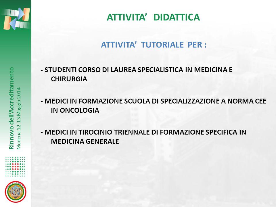 Rinnovo dell'Accreditamento Modena 12-13 Maggio 2014 ATTIVITA' DIDATTICA ATTIVITA' TUTORIALE PER : - STUDENTI CORSO DI LAUREA SPECIALISTICA IN MEDICIN