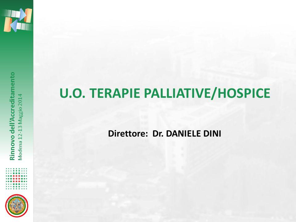 Rinnovo dell'Accreditamento Modena 12-13 Maggio 2014 U.O. TERAPIE PALLIATIVE/HOSPICE Direttore: Dr. DANIELE DINI