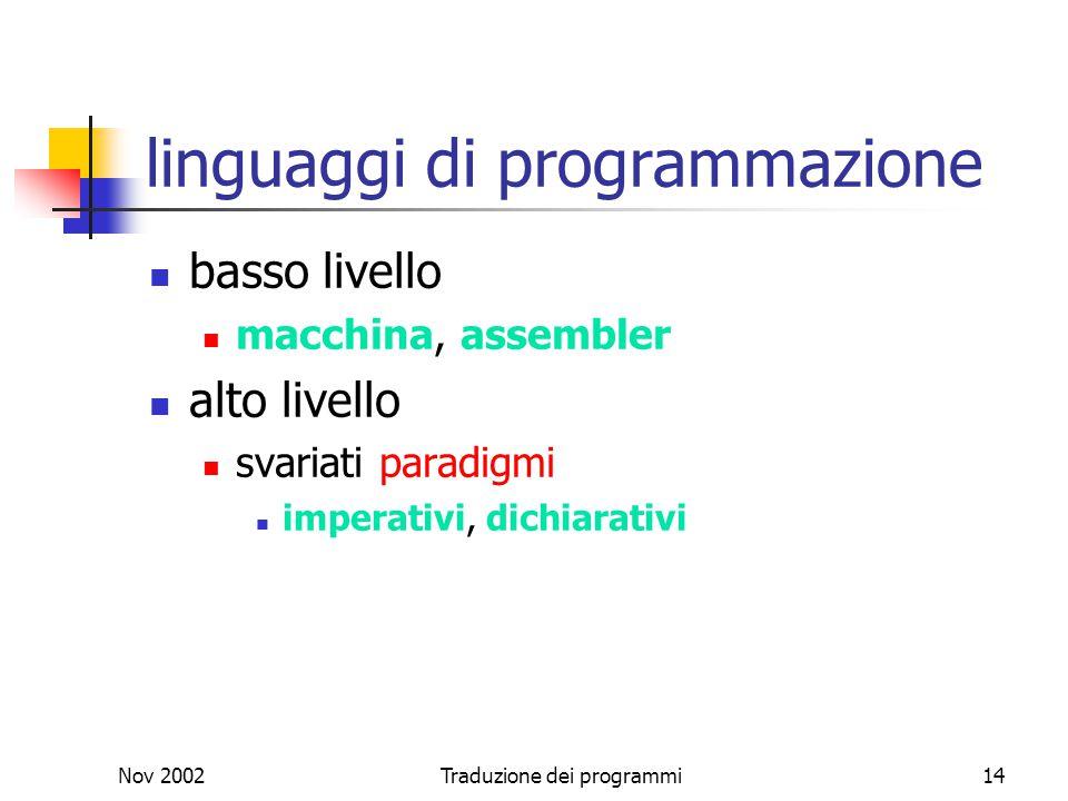 Nov 2002Traduzione dei programmi14 linguaggi di programmazione basso livello macchina, assembler alto livello svariati paradigmi imperativi, dichiarat