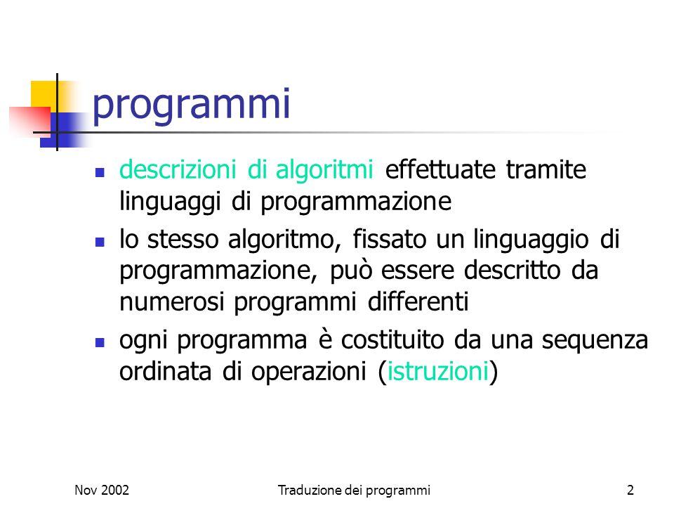 Nov 2002Traduzione dei programmi2 programmi descrizioni di algoritmi effettuate tramite linguaggi di programmazione lo stesso algoritmo, fissato un li