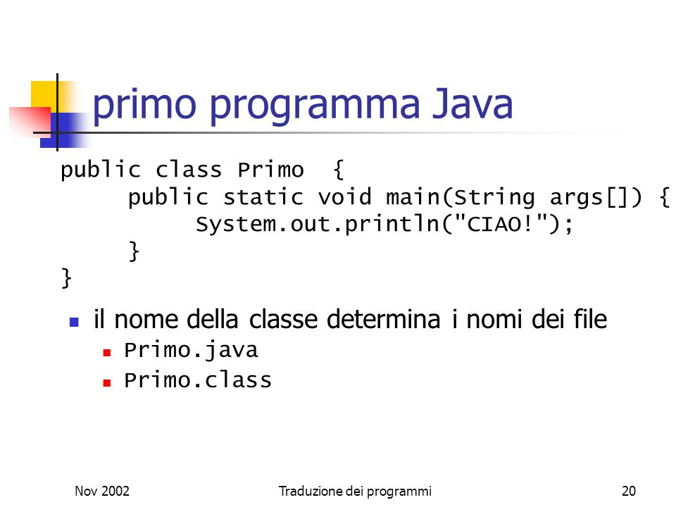 Nov 2002Traduzione dei programmi20 primo programma Java il nome della classe determina i nomi dei file Primo.java Primo.class public class Primo { pub