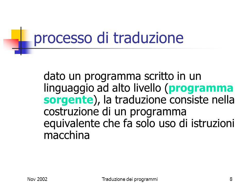 Nov 2002Traduzione dei programmi8 processo di traduzione dato un programma scritto in un linguaggio ad alto livello (programma sorgente), la traduzion