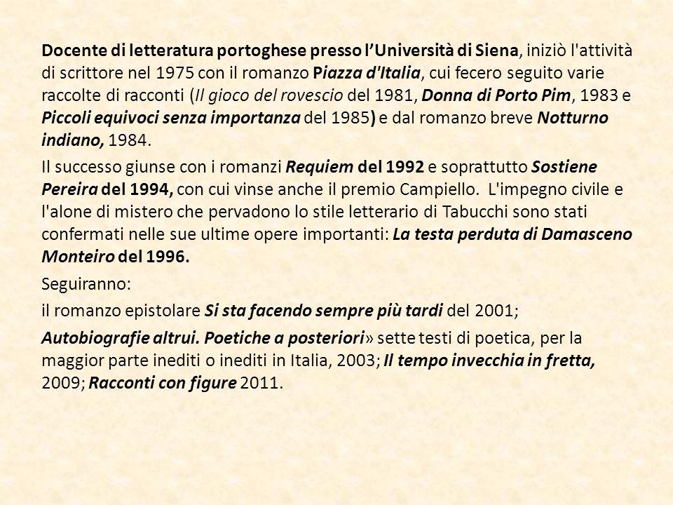 Docente di letteratura portoghese presso l'Università di Siena, iniziò l'attività di scrittore nel 1975 con il romanzo Piazza d'Italia, cui fecero seg