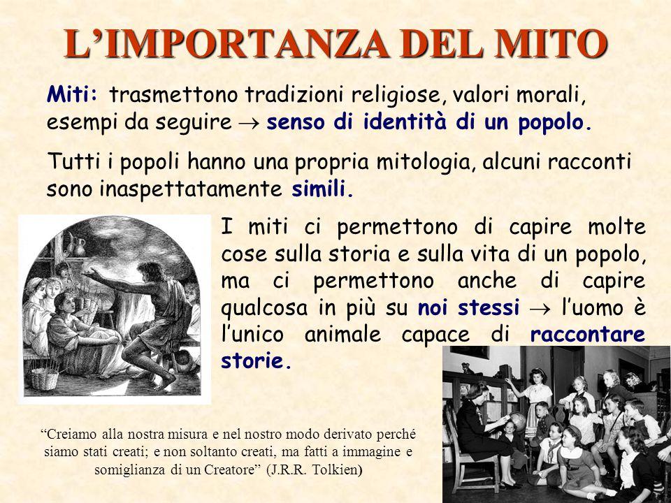 L'IMPORTANZA DEL MITO Miti: trasmettono tradizioni religiose, valori morali, esempi da seguire  senso di identità di un popolo.