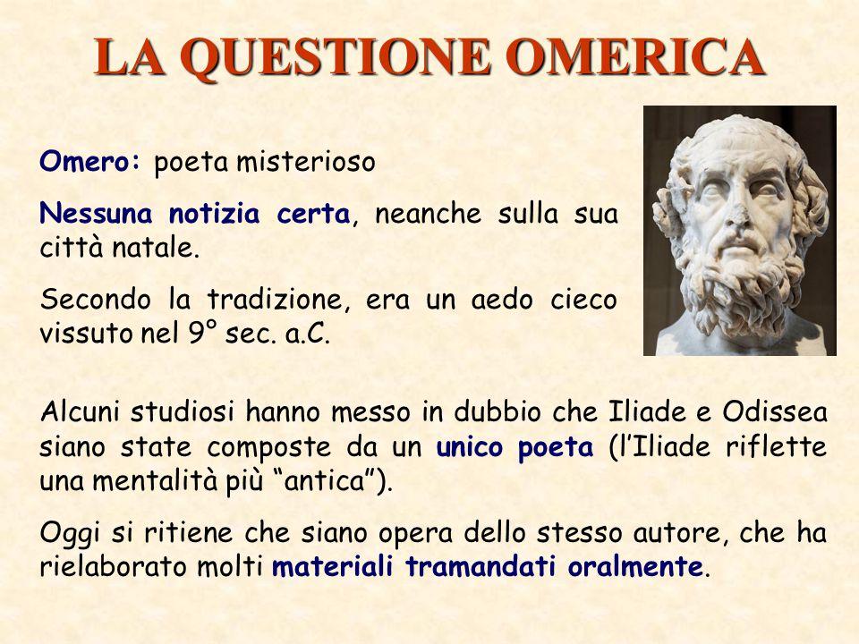 LA QUESTIONE OMERICA Omero: poeta misterioso Nessuna notizia certa, neanche sulla sua città natale.