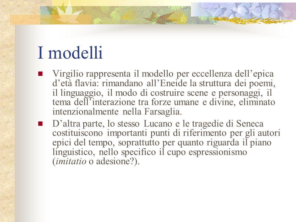 I modelli Virgilio rappresenta il modello per eccellenza dell'epica d'età flavia: rimandano all'Eneide la struttura dei poemi, il linguaggio, il modo