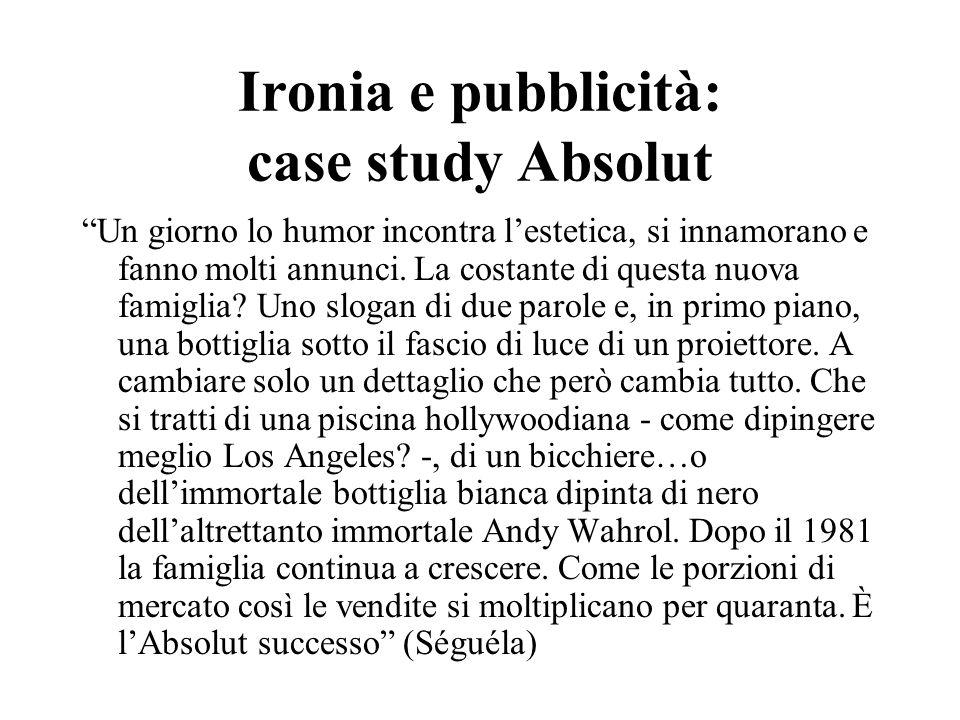 """Ironia e pubblicità: case study Absolut """"Un giorno lo humor incontra l'estetica, si innamorano e fanno molti annunci. La costante di questa nuova fami"""