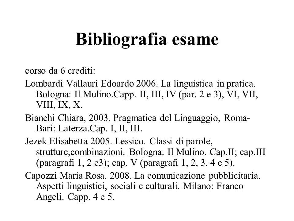 Bibliografia esame corso da 6 crediti: Lombardi Vallauri Edoardo 2006. La linguistica in pratica. Bologna: Il Mulino.Capp. II, III, IV (par. 2 e 3), V