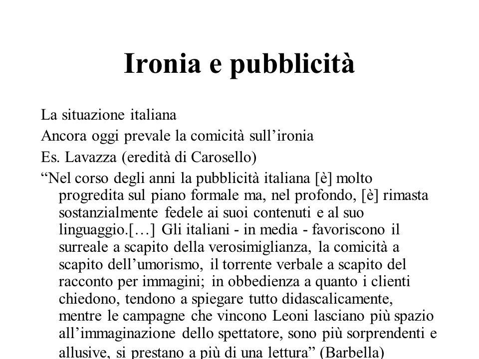 """Ironia e pubblicità La situazione italiana Ancora oggi prevale la comicità sull'ironia Es. Lavazza (eredità di Carosello) """"Nel corso degli anni la pub"""