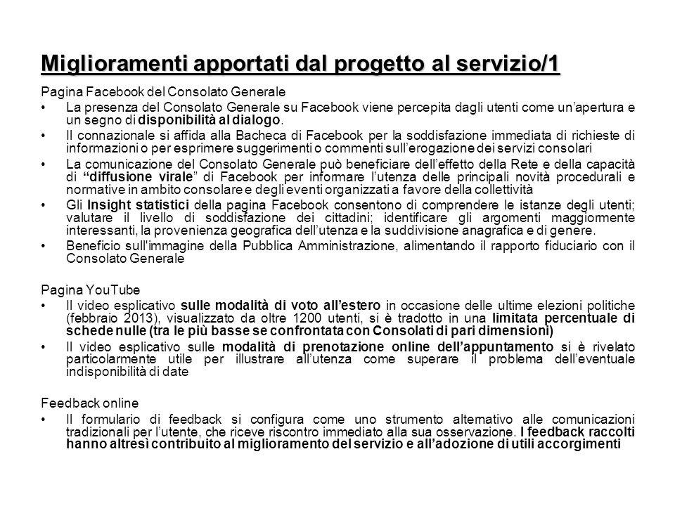 Miglioramenti apportati dal progetto al servizio/1 Pagina Facebook del Consolato Generale La presenza del Consolato Generale su Facebook viene percepita dagli utenti come un'apertura e un segno di disponibilità al dialogo.