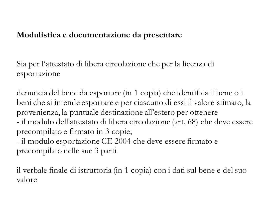 Modulistica e documentazione da presentare Sia per l'attestato di libera circolazione che per la licenza di esportazione denuncia del bene da esportar