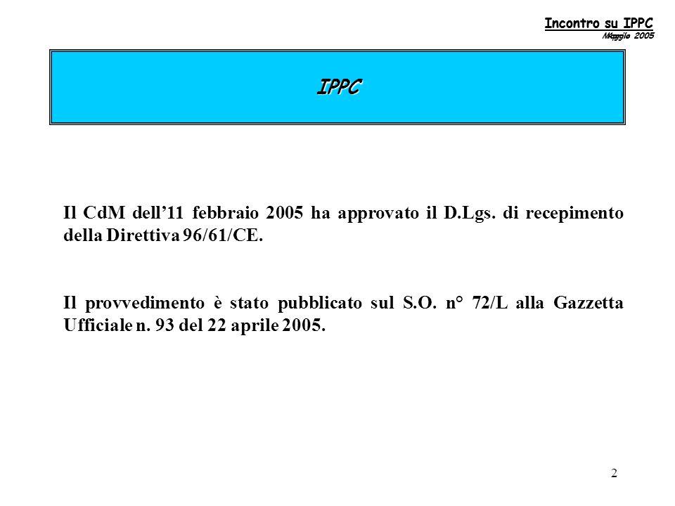 33 2.4.2 Scheda 6 Emissioni totali in acqua del complesso dichiarante Incontro su IPPC Maggio 2005