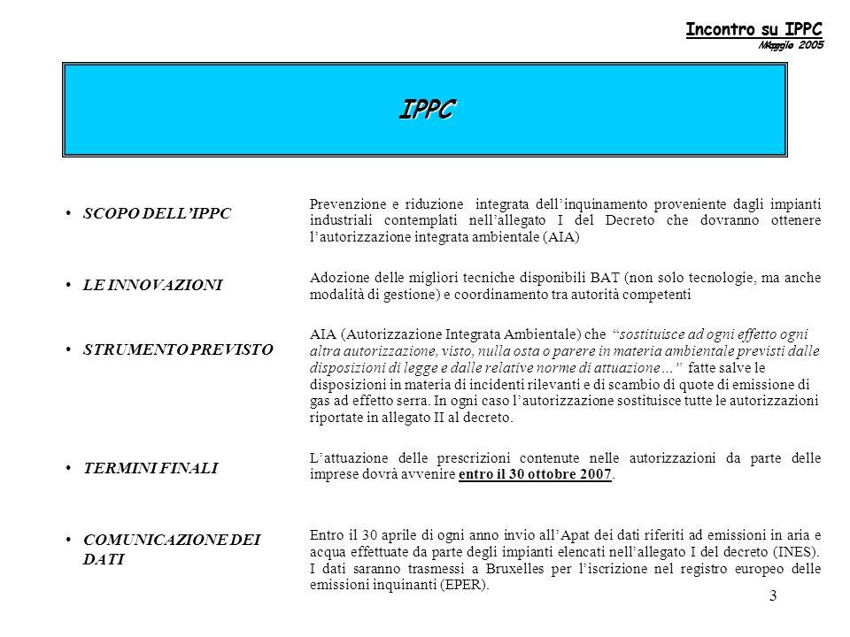 3 IPPC SCOPO DELL'IPPC LE INNOVAZIONI STRUMENTO PREVISTO TERMINI FINALI COMUNICAZIONE DEI DATI Prevenzione e riduzione integrata dell'inquinamento proveniente dagli impianti industriali contemplati nell'allegato I del Decreto che dovranno ottenere l'autorizzazione integrata ambientale (AIA) Adozione delle migliori tecniche disponibili BAT (non solo tecnologie, ma anche modalità di gestione) e coordinamento tra autorità competenti AIA (Autorizzazione Integrata Ambientale) che sostituisce ad ogni effetto ogni altra autorizzazione, visto, nulla osta o parere in materia ambientale previsti dalle disposizioni di legge e dalle relative norme di attuazione… fatte salve le disposizioni in materia di incidenti rilevanti e di scambio di quote di emissione di gas ad effetto serra.