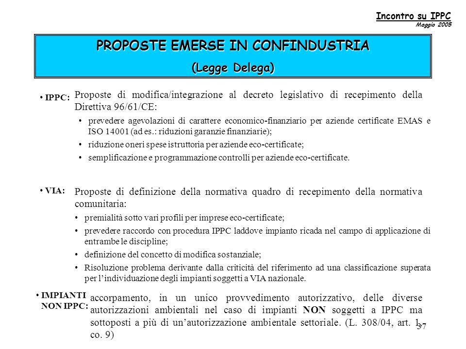 37 PROPOSTE EMERSE IN CONFINDUSTRIA (Legge Delega) IPPC: prevedere agevolazioni di carattere economico-finanziario per aziende certificate EMAS e ISO 14001 (ad es.: riduzioni garanzie finanziarie); riduzione oneri spese istruttoria per aziende eco-certificate; semplificazione e programmazione controlli per aziende eco-certificate.