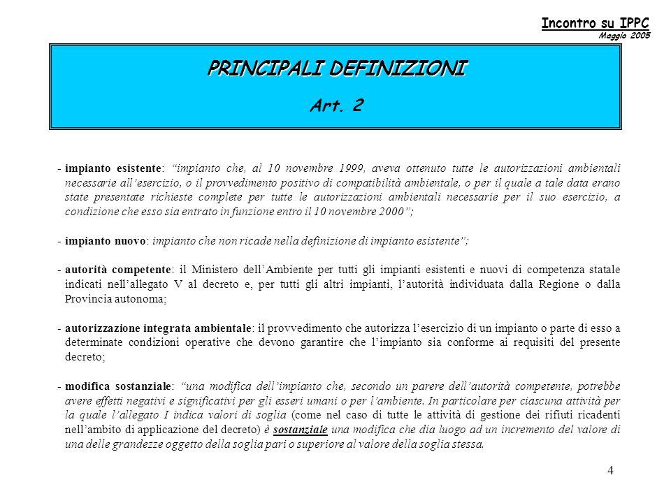 4 PRINCIPALI DEFINIZIONI PRINCIPALI DEFINIZIONI Art.