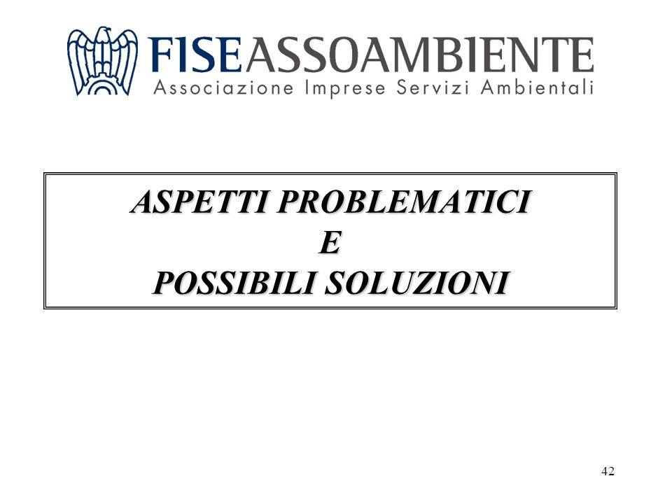 42 ASPETTI PROBLEMATICI E POSSIBILI SOLUZIONI