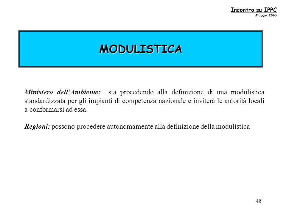 48 MODULISTICA Ministero dell'Ambiente: sta procedendo alla definizione di una modulistica standardizzata per gli impianti di competenza nazionale e inviterà le autorità locali a conformarsi ad essa.