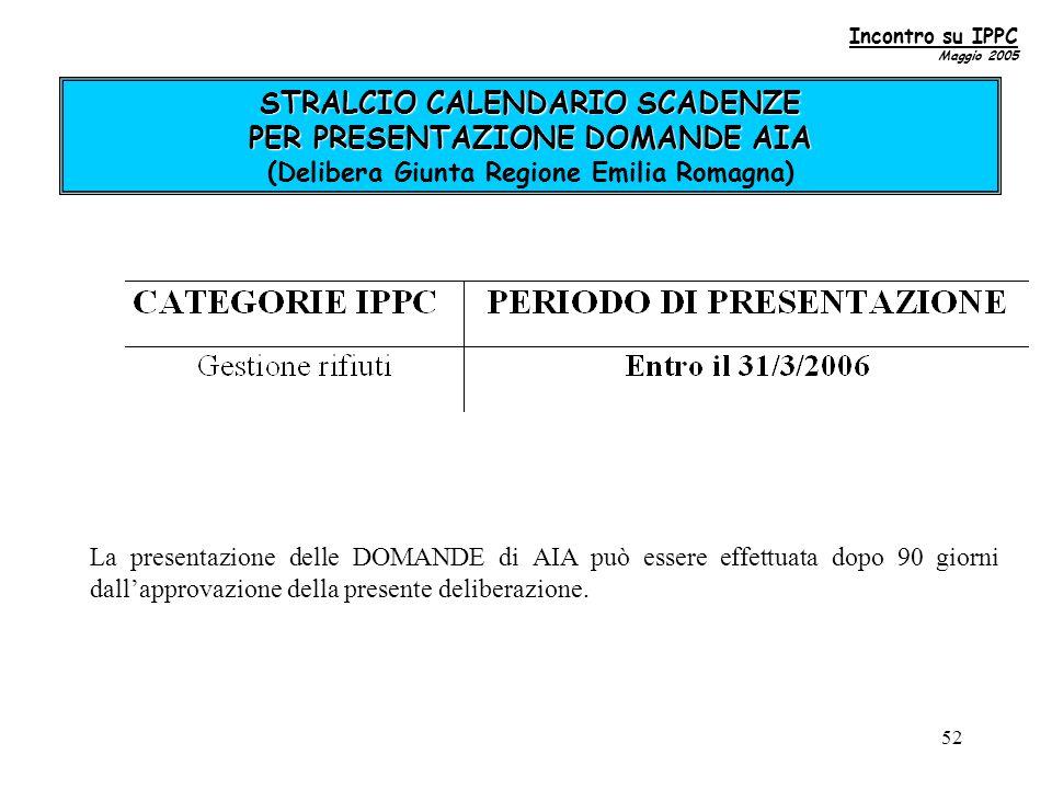 52 STRALCIO CALENDARIO SCADENZE PER PRESENTAZIONE DOMANDE AIA STRALCIO CALENDARIO SCADENZE PER PRESENTAZIONE DOMANDE AIA (Delibera Giunta Regione Emilia Romagna) La presentazione delle DOMANDE di AIA può essere effettuata dopo 90 giorni dall'approvazione della presente deliberazione.