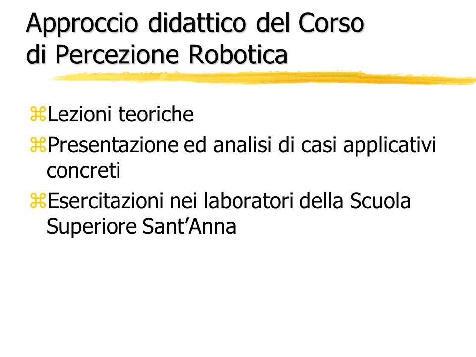 Approccio didattico del Corso di Percezione Robotica zLezioni teoriche zPresentazione ed analisi di casi applicativi concreti zEsercitazioni nei laboratori della Scuola Superiore Sant'Anna