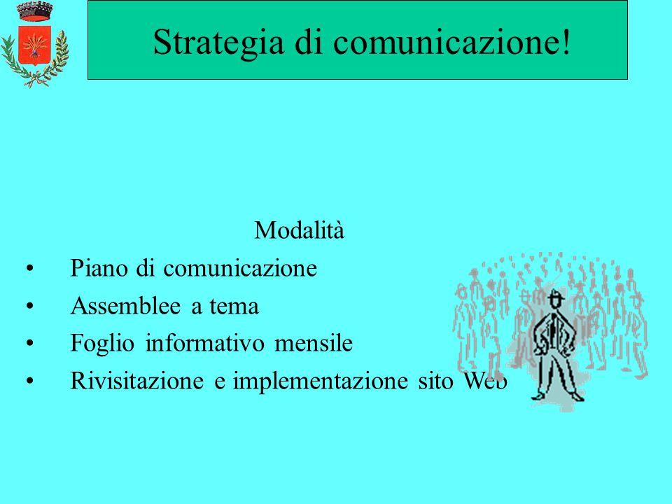 Strategia di comunicazione! Modalità Piano di comunicazione Assemblee a tema Foglio informativo mensile Rivisitazione e implementazione sito Web