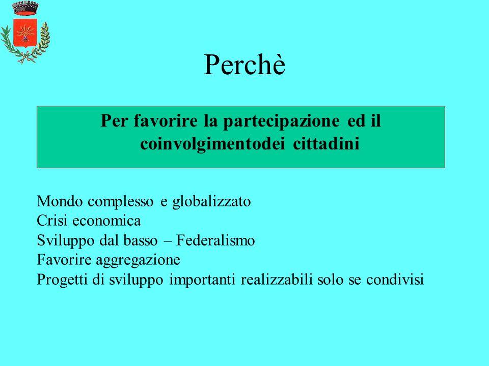 Perchè Per favorire la partecipazione ed il coinvolgimentodei cittadini Mondo complesso e globalizzato Crisi economica Sviluppo dal basso – Federalism