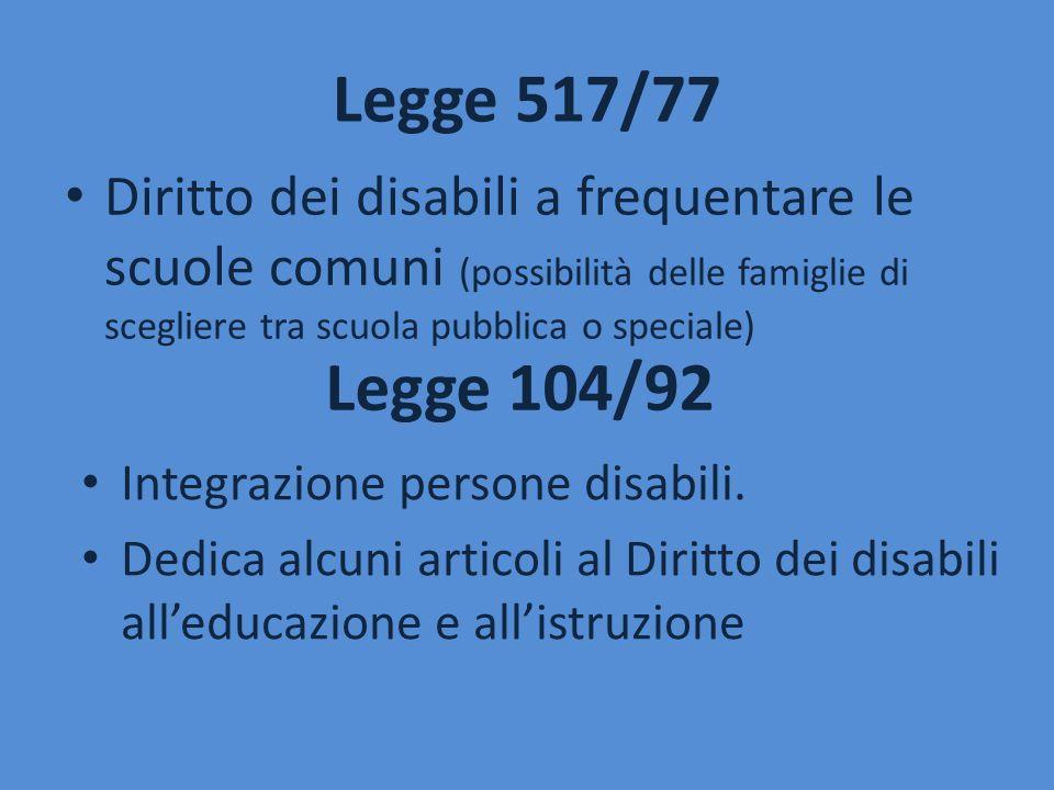 Legge 517/77 Diritto dei disabili a frequentare le scuole comuni (possibilità delle famiglie di scegliere tra scuola pubblica o speciale) Legge 104/92
