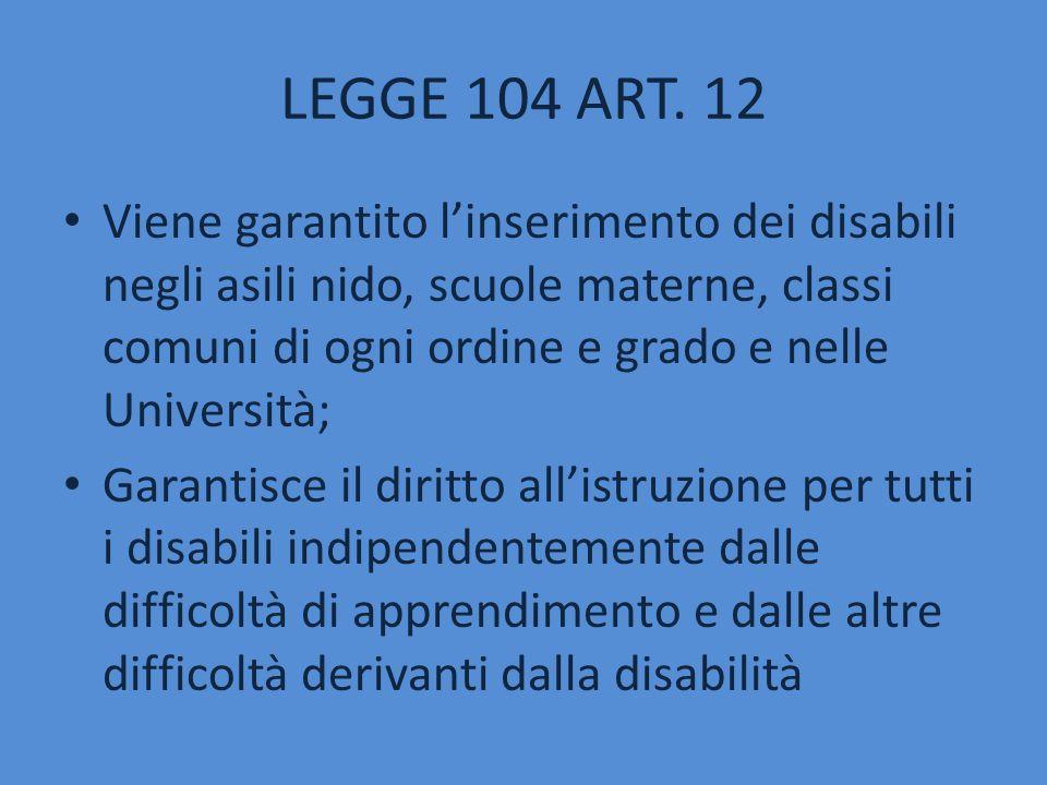 LEGGE 104 ART. 12 Viene garantito l'inserimento dei disabili negli asili nido, scuole materne, classi comuni di ogni ordine e grado e nelle Università