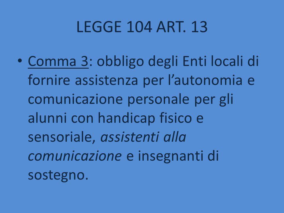 Comma 3: obbligo degli Enti locali di fornire assistenza per l'autonomia e comunicazione personale per gli alunni con handicap fisico e sensoriale, as