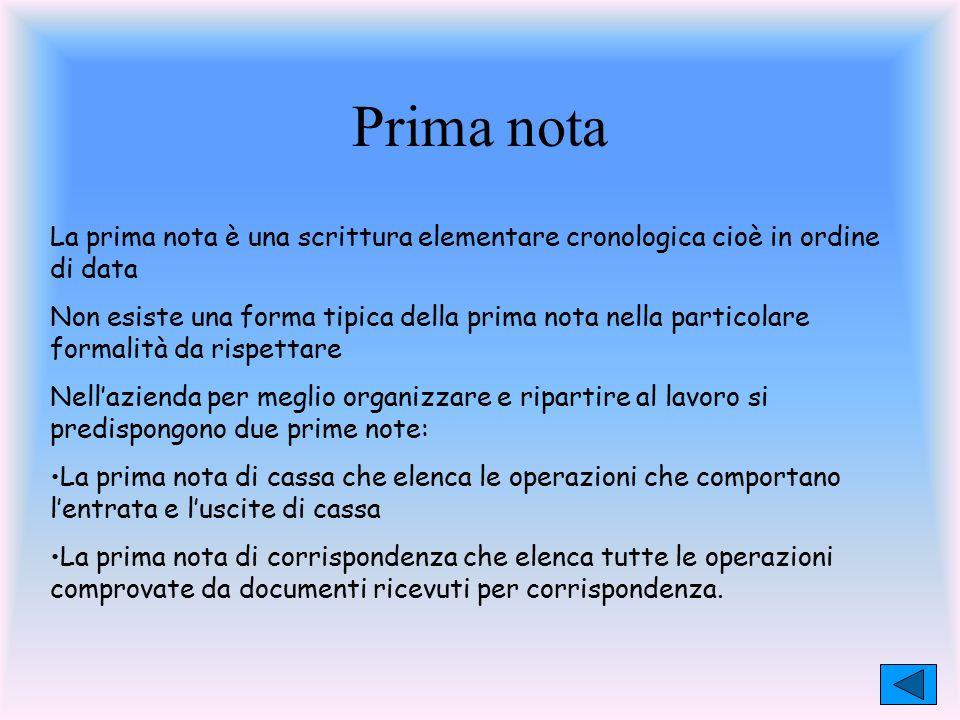 Prima nota La prima nota è una scrittura elementare cronologica cioè in ordine di data Non esiste una forma tipica della prima nota nella particolare