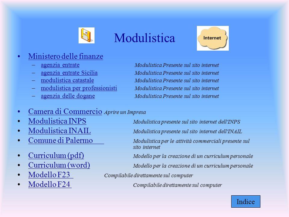 Modulistica Ministero delle finanze –agenzia entrate Modulistica Presente sul sito internetagenzia entrate –agenzia entrate Sicilia Modulistica Presen
