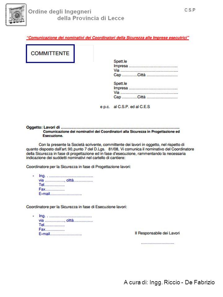 C.S.P A cura di: Ingg. Riccio - De Fabrizio