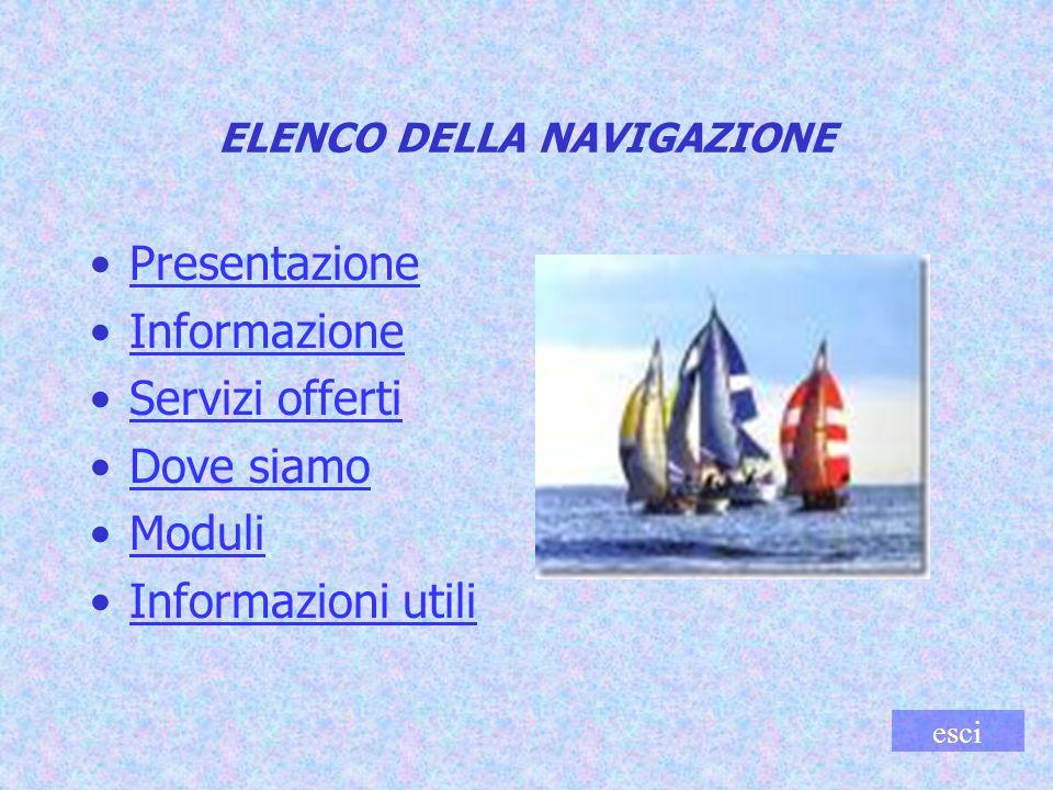 ELENCO DELLA NAVIGAZIONE Presentazione Informazione Servizi offerti Dove siamo Moduli Informazioni utili esci