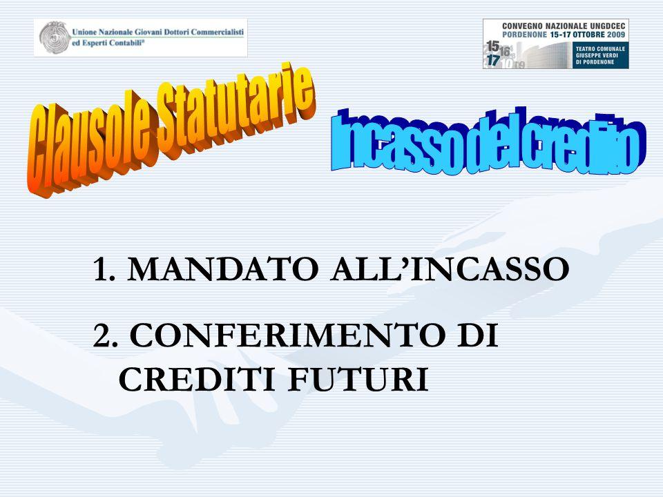 1. MANDATO ALL'INCASSO 2. CONFERIMENTO DI CREDITI FUTURI