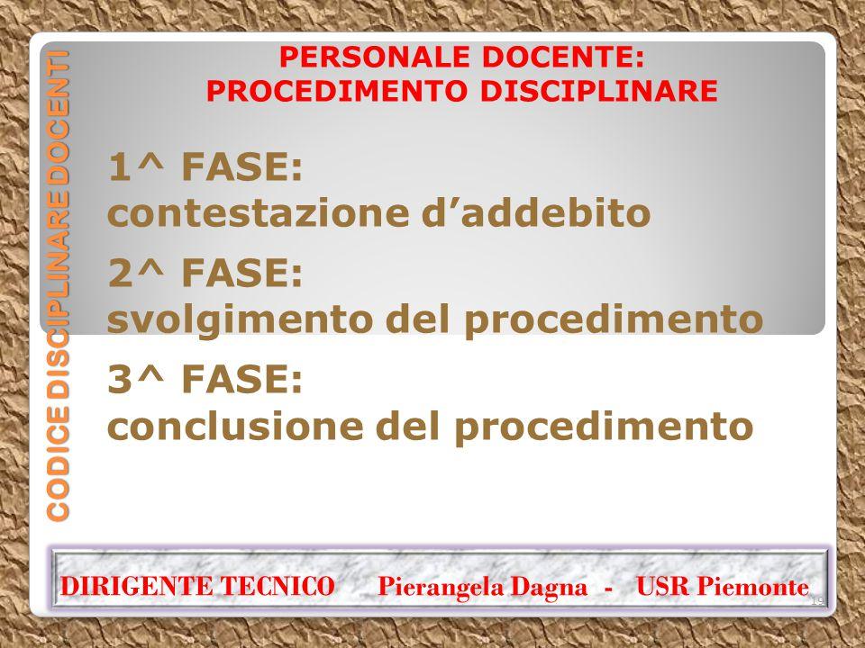 CODICE DISCIPLINARE DOCENTI PERSONALE DOCENTE: PROCEDIMENTO DISCIPLINARE 1^ FASE: contestazione d'addebito 2^ FASE: svolgimento del procedimento 3^ FA
