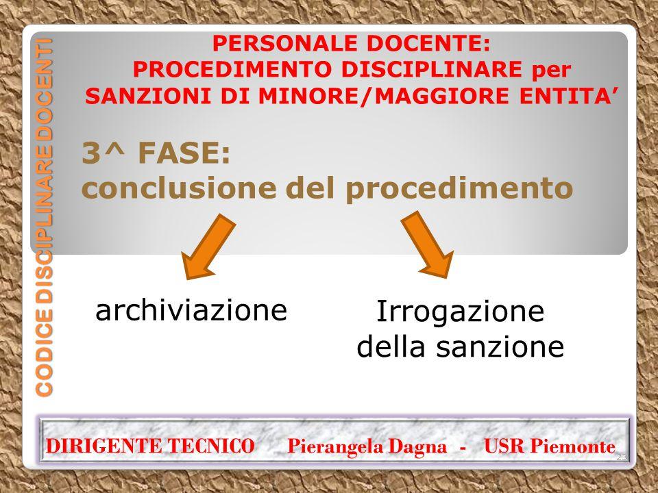 CODICE DISCIPLINARE DOCENTI PERSONALE DOCENTE: PROCEDIMENTO DISCIPLINARE per SANZIONI DI MINORE/MAGGIORE ENTITA' 3^ FASE: conclusione del procedimento